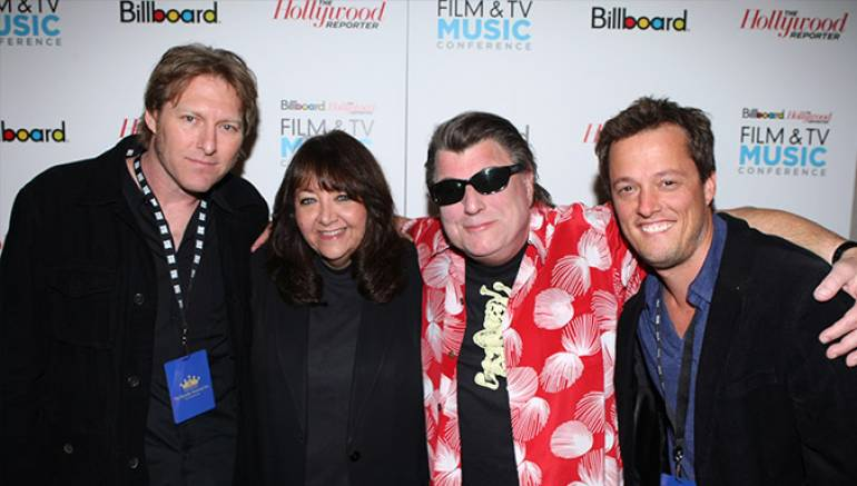"""Pictured at the """"Evolution of a Score and the Business of Composing for Film & TV"""" panel during the 2011 Hollywood Reporter/Billboard Film & Television Music Conference are BMI composer Tyler Bates, BMI's Doreen Ringer Ross, BMI composers Christopher Young and Nathan Barr."""