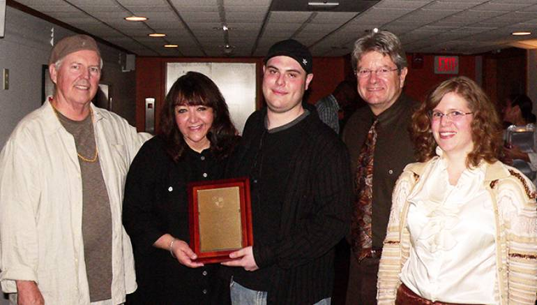 Pictured at the BMI Day at Berklee College of Music are (L-R): George S. Clinton, BMI Composer and Chair,  Berklee Film Scoring department; Doreen Ringer-Ross, Vice President, Film/TV Relations, BMI; Joshua Cohen, recipient 2012 BMI Film Scoring Scholarship; Dan Carlin, 2011 Chair, Berklee Film Scoring department; and Alison Plante, Assistant Chair,  Berklee Film Scoring department.