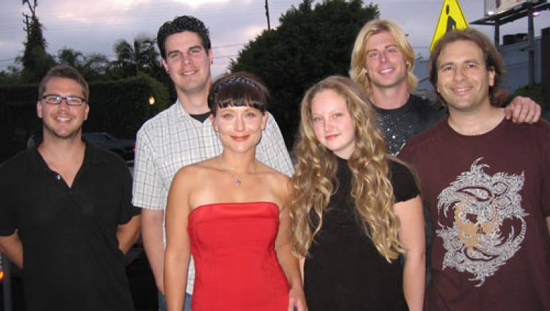 Pictured after the show are (l-r): BMI's Joe Maggini, Justin Culver, Emily Tessmer, Jessica Lombard, Beau Davidson and Glenn Rottman, who accompanied on guitar.