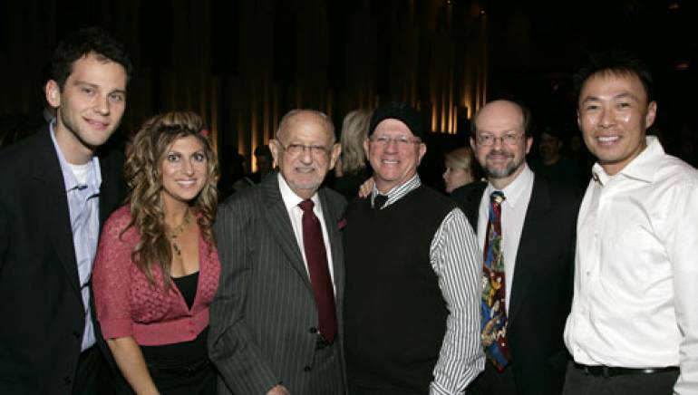 Singing along at the party are (l-r): BMI's Casey Robison and Anne Cecere, Earle Hagen, Mike Post, Jon Burlingame and BMI's Ray Yee.