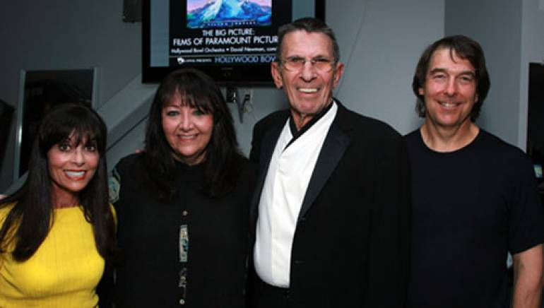 Pictured (l-r) are: Carol Goldsmith (widow of Jerry Goldsmith), BMI's Doreen Ringer Ross, event host Leonard Nimoy, and David Newman.