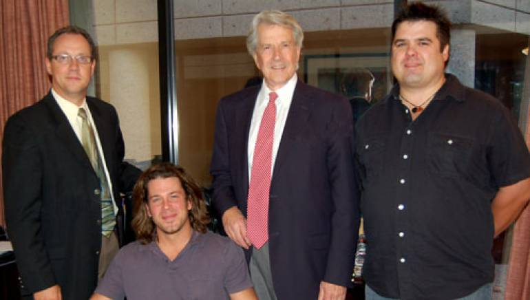 Pictured at BMI Nashville are (l to r): BMI's Shelby Kennedy, Christian Kane, BMI's Harry Warner and manager Eric Griffin.