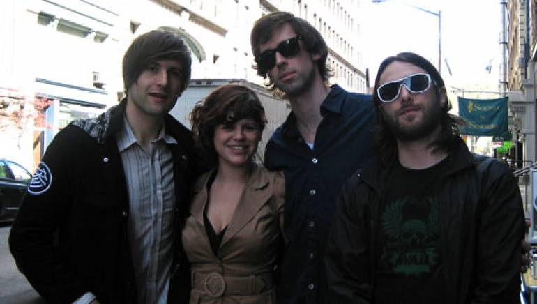 Pictured hitting the streets to celebrate the signing are (l-r): Alex Suarez, BMI's June Neira, Ryland Blackinton and Crush Management's Alex Sarti.