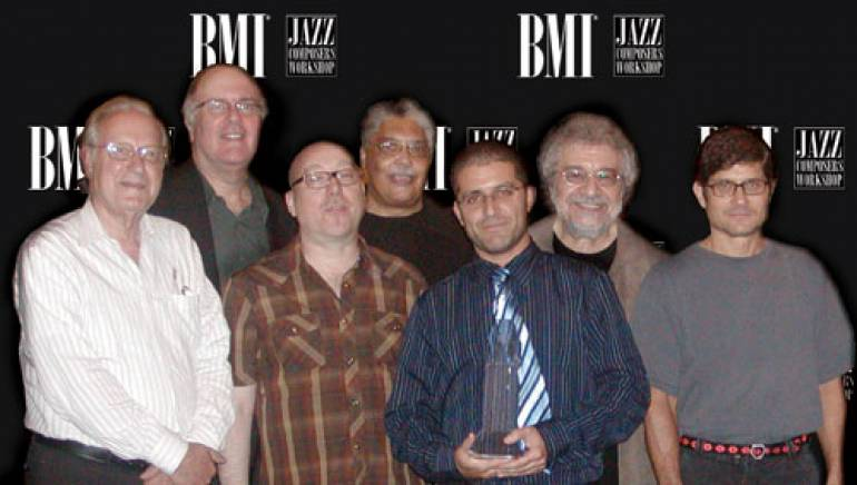 Pictured after the event are (l-r): competition judge Dan Morgenstern; BMI Jazz Composers Workshop musical director Jim McNeely; competition judges Brian Lynch and Rufus Reid; Charlie Parker Jazz Composition Prize-winner Jose Bevia; BMI Jazz Composers Workshop associate musical director Michael Abene; Jazz Composers Workshop guest instructor Mike Holder.