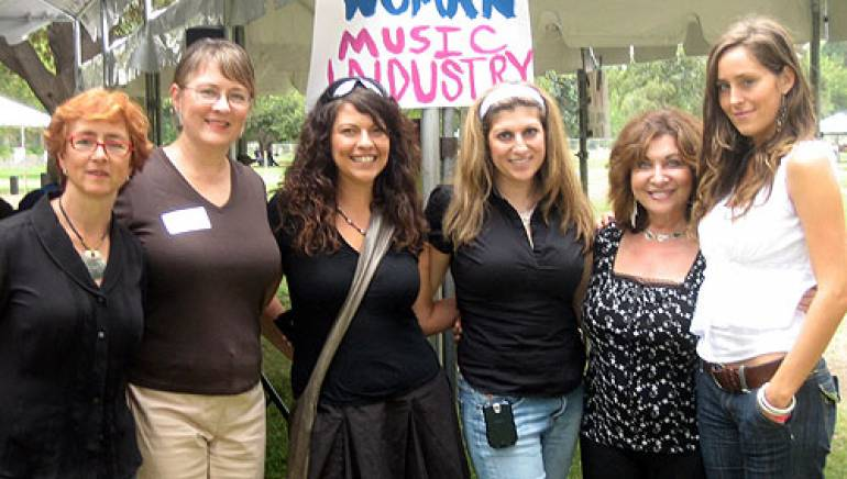 Shown after the film music panel are (l-r): film/TV producer Judi Levine; LAWMF moderator Trish Lester; music supervisor Heather Kreamer; BMI's Anne Cecere; Grammy-nominated songwriter and author Pamela Phillips Oland; and A&R Select's Alethia Austin.