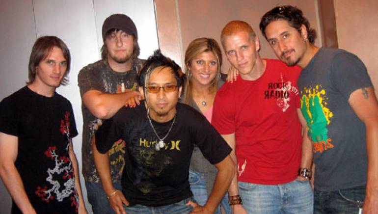 Shown are (l-r): Jeff Friedl, Steve Koehler and Johnny Lee of Frequency 5, Anne Cecere, and the group's Jason Layden and Sal Lopez. <em>Photo: Ellen Dawson/BMI</em>