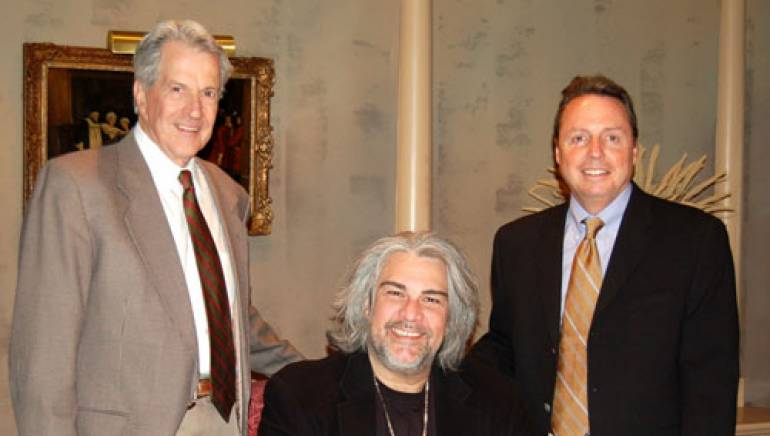 Pictured are (l to r): BMI's Harry Warner, Rusty Golden & BMI's Jody Williams. <em>Photo by E. Dawson</em>