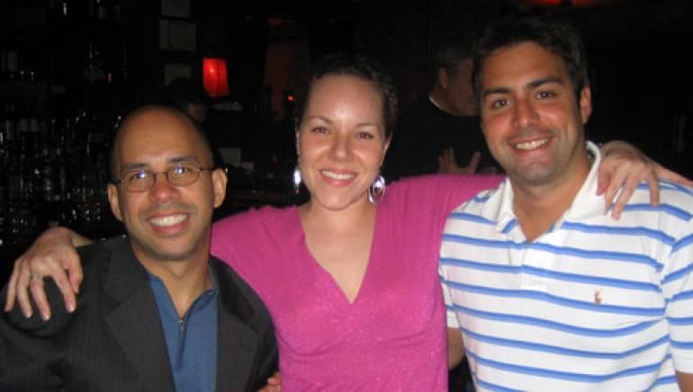 Shown are (l-r): BMI's Porfirio Piña, Maria Elena from Los Pecados de Maria and BMI's Jerry Vila.