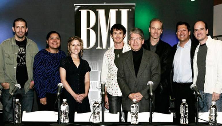Pictured (l-r) are: Sebastian Krys, BMI's Marissa Lopez, Ayala Ben-Yehuda, Mark Portmann, Homero Patron, KC Porter, Kiko Cibrian and Rafa Sardina.