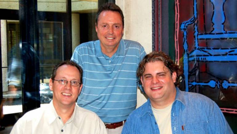 Pictured are (l to r): BMI's Shelby Kennedy and Jody Williams, with songwriter Jason Matthews.
