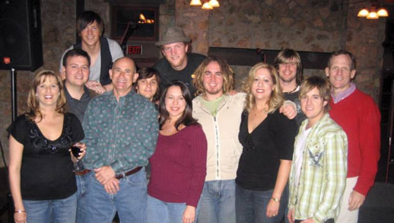 Pictured after the performance: Front row: Clear Channel's Kelly Creager, Rick Mangum,  Angela Coy, Kingbillys Matt Utterback, Clear Channel's Susan Hicks, and Kingbilly's Kevin Weaver. Back row: BMIs Mason Hunter, Kingbilly's Donny Falgatter, Charlie Worsham, John Osborne, Josh Matheny, BMI's Dan Spears.