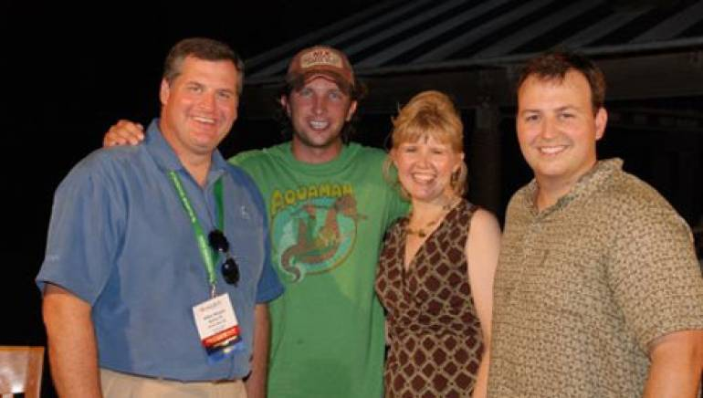 Pictured (l-r) at the South Carolina Association of Broadcasters event are: SCAB President Mike Hayes of Hearst-Argyle TV, Kinney, Karen Nettles of SCAB, and BMI's Mason Hunter.