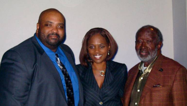 Pictured are (l-r): Ken Johnson, BMI's Catherine Brewton and Clarence Avant
