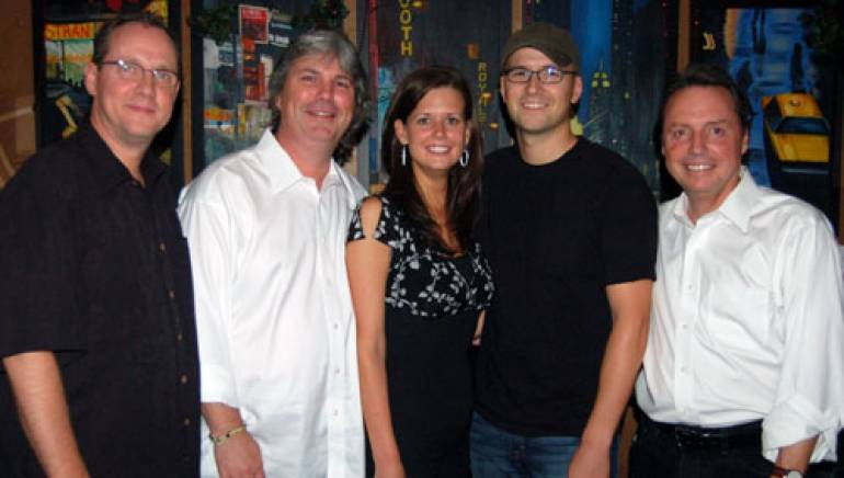 Pictured are (l to r): BMI's Shelby Kennedy, Oglesby Writer Management's Chris Oglesby, BMI's Beth Mason, Luke Laird and BMI's Jody Williams.