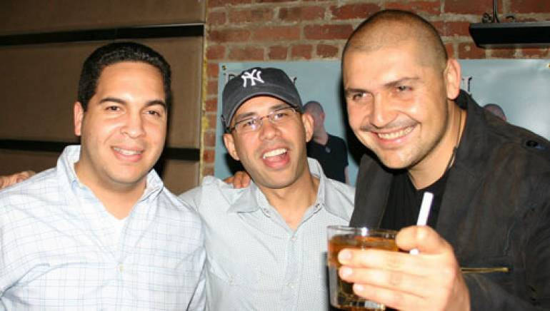 Shown at the party are (l-r): Sony BMG Music's Andres Salce, BMI's Porfirio Piña, and Reyli Barba. Photo courtesy of partywatcher.com by Manuel Ortiz.
