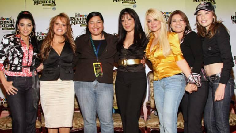 Pictured (l-r) are: Univision Records artist Graciela Beltrán, Fonovisa artist Jenni Rivera, Marissa Lopez, Virginia and Marisol Terrazas, (Los Horóscopos De Durango), Universal Music Latino artist Diana Reyes, and Fonovisa artist Yolanda Perez.