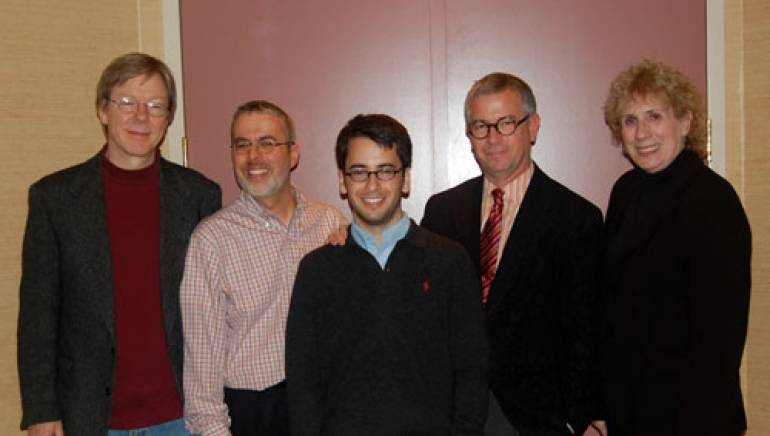 Michael Mitnick is awarded the  2007 BMI Foundation Robert Sherman Scholarship. L-R Patrick Cook, Artistic Coordinator of the BMI Lehman Engel Musical Theatre Workshop, Frederick Freyer, co-moderator of First and Second Years, Mitnick, Ralph Jackson, President of the BMI Foundation, Jean Banks