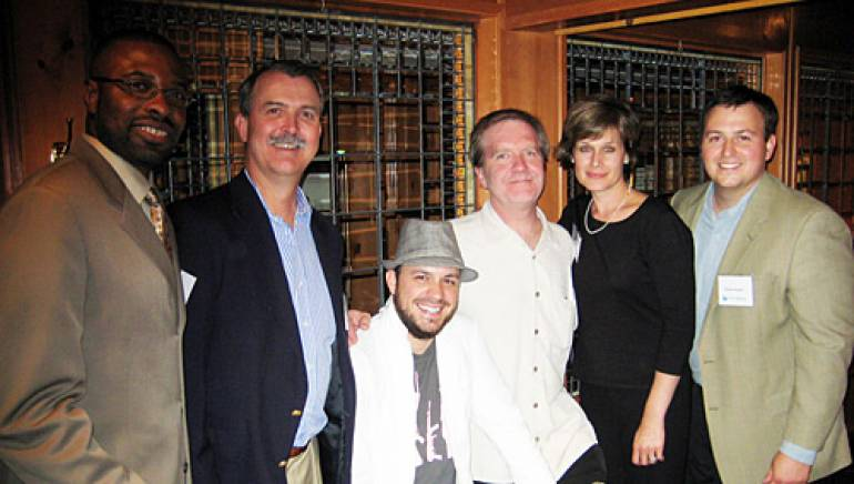 Pictured after Sheff's performance are (l-r): GMI Radio Division Controller Calvin Lyles and CFO Ed Nolan; Sheff; GMI VP of Program Development Buzz Knight and Director of Corporate Communications Heidi Raphael; and BMI's Mason Hunter.