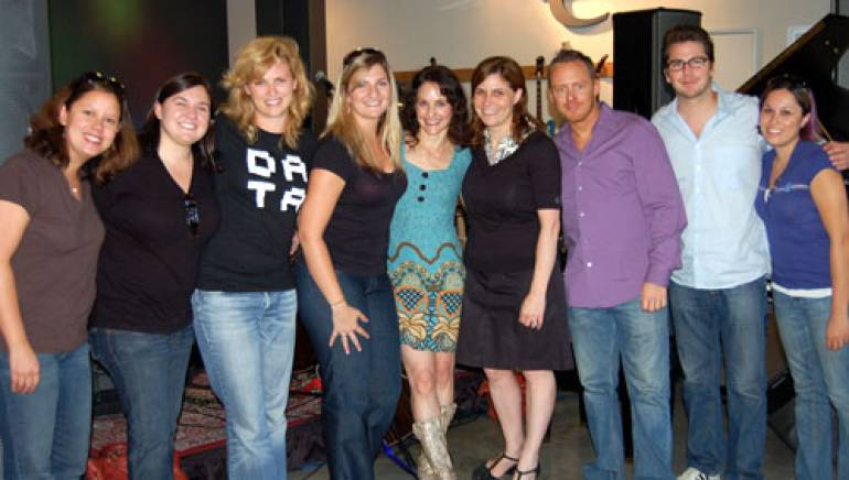 Pictured are (l-r): Nettwerk Records' Maria Alonte McCoy, Holly Gray, Bernadette Walsh, and Danielle Romeo; Melson; BMI's Tracie Verlinde, Myles Lewis and Joe Maggini; and Nettwerk's Naomi Schallers.