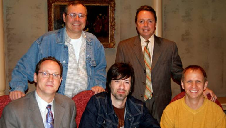 Pictured are (l to r): Universal Music Publishing Group's Pat Higdon and BMI's Jody Williams, with BMI's Shelby Kennedy, Travis Meadows and Universal Music Publishing Group's Scott Gunter, seated.