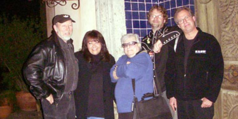 "Pictured after a pre-premiere dinner are L-R: Richard Thompson, guitar legend and composer for the film; BMI's Doreen Ringer Ross; Harlan Ellison; Josh Olson, screenwriter and friend of Harlan's; and Erik Nelson, producer/director of ""Dreams..."""