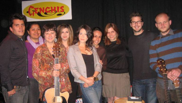 Shown after a standing room only performance are (l-r): Gustavo Alberto, BMI's Marissa Lopez, Joan Enguita, BMI's Anne Cecere, Jackie Tohn, BMI's Delia Orjuela, BMI's Tracie Verlinde, BMI's Joe Maggini and Wynn Walent.
