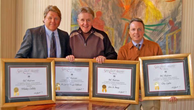 Pictured are (l to r): BMI's David Preston, Whisperin' Bill Anderson and BMI's Jody Williams.