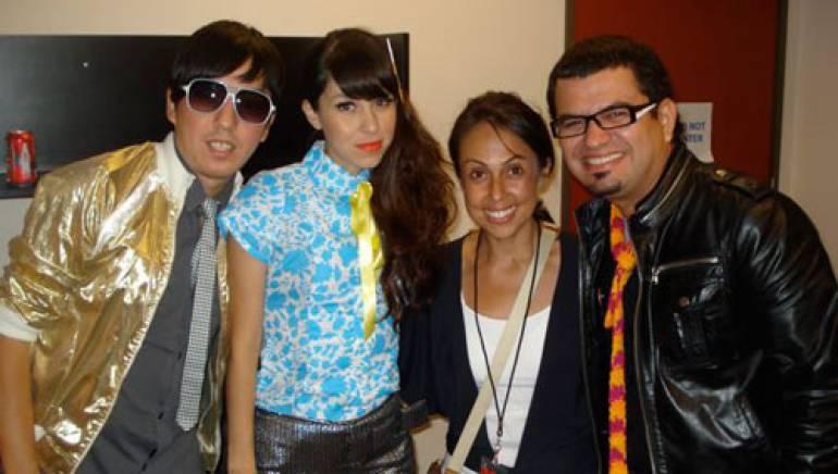 Shown backstage are (l-r): Supernova's Edgar Huerta and Denisse Guerrero, BMI's Delia Orjuela and the groups Ricardo Arreola.