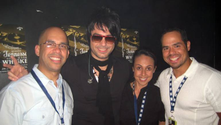 Shown are (l-r): BMI's Porfirio Pina, Beto Cuevas, BMI's Delia Orjuela and Joey Mercado