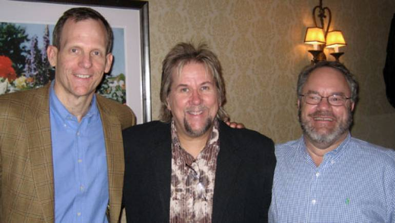 Pictured after the performance are (l-r):  BMI's Dan Spears, Pack and Cherry Creek Radio President & CEO Joe Schwartz