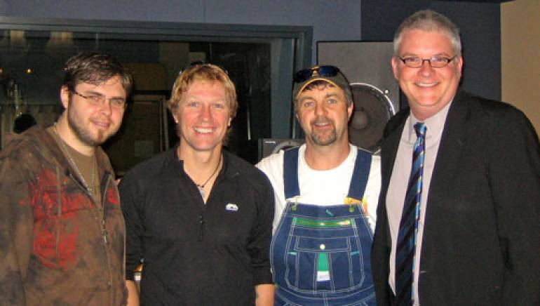Pictured are (l to r): engineer J.R. Rodriguez, Craig Morgan, producer & BMI songwriter Phil O'Donnell and BMI's Perry Howard.