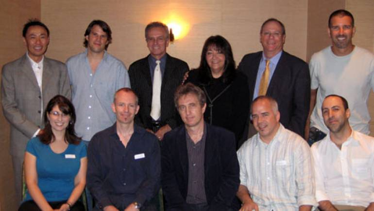 (back row) BMI's Ray Yee; Domnik Mack; MPA founder Joe Carroll; BMI's  Doreen Ringer-Ross and  Charlie Feldman; and Juan Chattah; (front row) Amy Baer; Andrew Gabreys; Rick Baitz; Christopher North; and MPA CEO Matthew Grippo