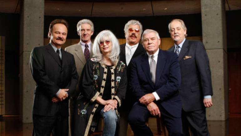 Pictured are (l to r): back row: 2008 Country Music Hall of Fame inductees Jimmy Fortune, Phil Balsley, Harold Reid and Don Reid of The Statler Brothers; front row: 2008 Country Music Hall of Fame inductees Emmylou Harris and Tom T. Hall.