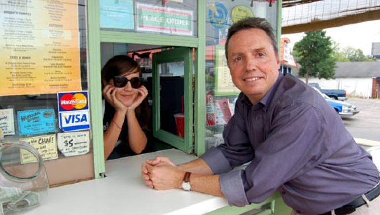 Pictured at Bobbie's Dairy Dip in Nashville are (l to r): Caitlin Rose and BMI's Jody Williams.