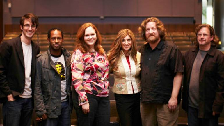 Shown in the recital hall are (l-r): Brandon Collins, Camara Kambon, Allison Clark, BMI's Anne Cecere, Russell Brower and head of CSF Department of Composition and BMI composer Ken Walicki.
