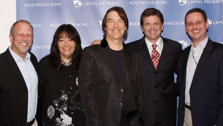 Steve Linder, Senior Vice President, IMG Artists; BMI's Vice President, Film & Television Relations, Doreen Ringer Ross; David Newman, BMI Composer; John Michael Higgins, actor/show host; and Brian Grohl, Hollywood Bowl manager.