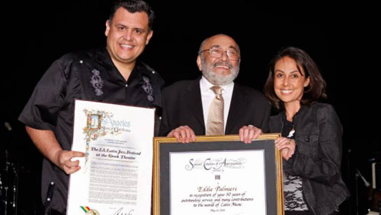Pictured at the Latin Jazz Festival are (l to r): Los Angeles City Councilman Representative, Eddie Palmieri and BMI's Delia Orjuela.