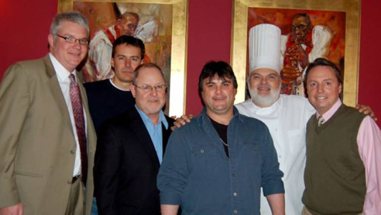 Pictured at Chappy's are (l to r): BMI's Perry Howard, Green Hills Music Group's Tony Darren and Woody Bomar, Gordon Bradberry, Chef Chappy and BMI's Jody Williams.