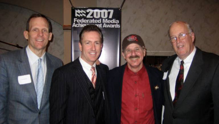 Pictured after the performance are (l-r) BMI's Dan Spears, Federated Media COO Tony Richards, Ford Coley and Federated Media President/CEO John Dille.