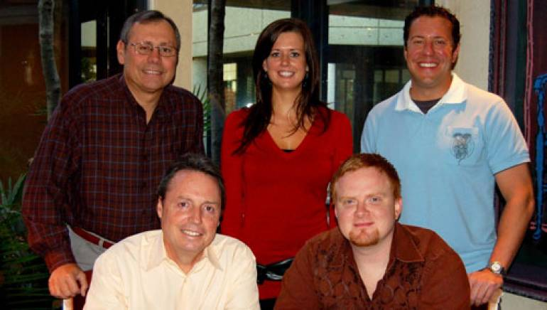 Pictured are (l to r): Universal Music Publishing Group's Pat Higdon, BMI's Beth Mason and Universal Music Publishing Group's Kent Earls, with BMI's Jody Williams and Jeremy Spillman, seated.