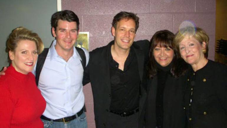 Pictured backstage after the performance are (l to r): Kristin Clayton, Keith Phares, Jake Heggie, BMI's Doreen Ringer Ross and Frederica von Stade.