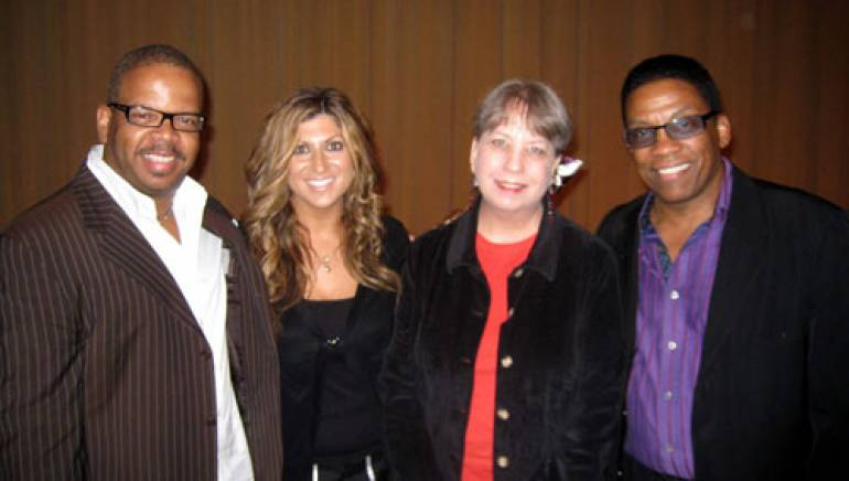 Shown following the screening are: Terence Blanchard; BMI's Anne Cecere; the SCL's Laura Dunn; and Herbie Hancock.