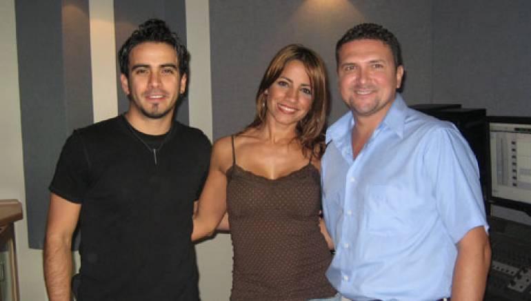 Shown in the studio are (l-r): Alicastro, Melina León, and BMI's Jake Cavazos.