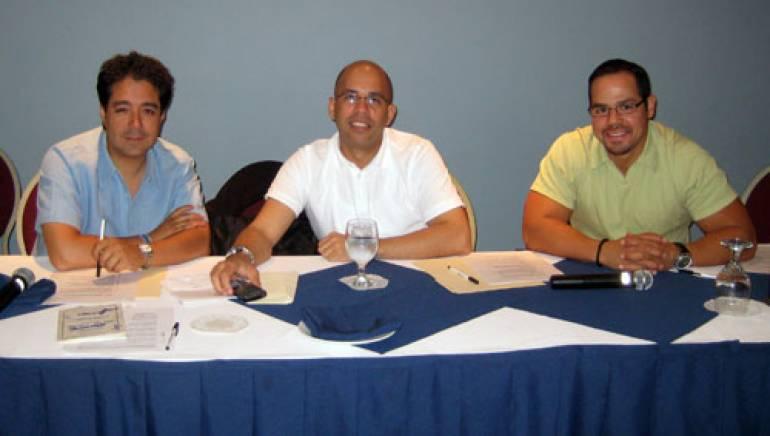 Shown are (l-r): Copyright & Trademark attorney, Antonio Rebollar; BMI's Porfirio Pina and Joey Mercado