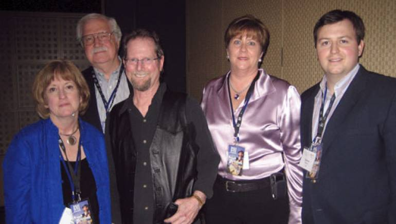 Pictured after the show are (l-r): Cox TV's Pat Abel; former Cox TV VP of Sales, Bill Spell; Roger McGuinn; Cox TV VP of Sales, Jane Williams; and BMI's Mason Hunter.