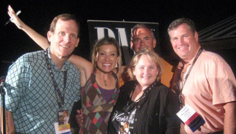 Pictured after her performance (l-r) are: BMI's Dan Spears, Sarah Buxton, WPDE-TV/WWMB-TV VP/GM Billy Huggins, WCRE-AM owner Jane Pigg, and WYFF-TV President/GM Mike Hayes