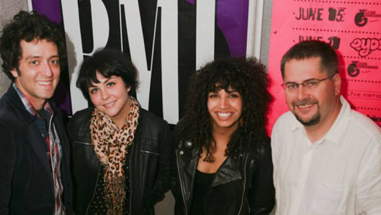 Shown are (l-r):  Jeremy 'Jem' Cohen, Lindsay 'Coco' Hames, and Maria 'Poni' Silver of The Ettes and BMI's Nick Robinson.