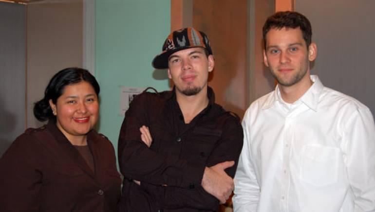 Pictured are (l-r): BMI's Marissa Lopez, Santana, BMI's Casey Robison.