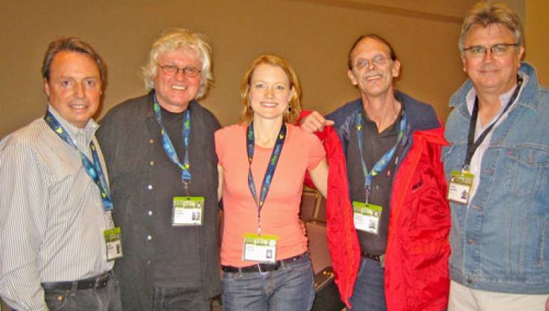 Pictured are (l to r): BMI's Jody Williams, Chip Taylor, Kelly Willis, Shawn Phillips and BMI's Phil Graham.