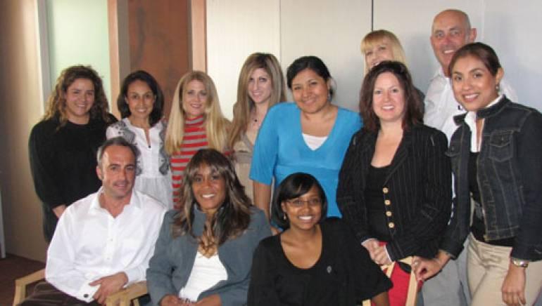 Shown at the luncheon are (l-r):  BMI's Angelica Mejia, Delia Orjuela, Joni Baker-Vandevelde, Anne Cecere and Marissa Lopez, Telemundo's Camile Bright-Smith, and BMI's Maria Elena Perez.  Back row: BMI's Claudia Billen and Telemundo's Tony Traugott. Seated: BMI's Michael Crepezzi, Telemundo's Monica Mason and Jaika Lara.